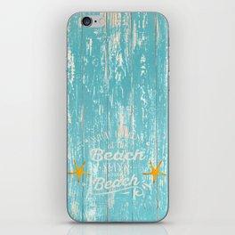 Happy Beach Life- Saying on aqua wood iPhone Skin