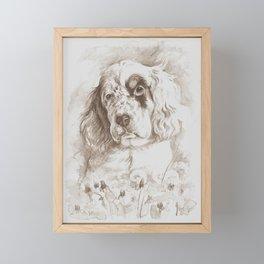 English Setter puppy Monochrome sgraffito Framed Mini Art Print