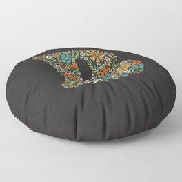 Hippie Floral Letter B Floor Pillow