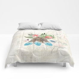 Feathers with Pink Flowers and Green Leaves Watercolor Design Comforters