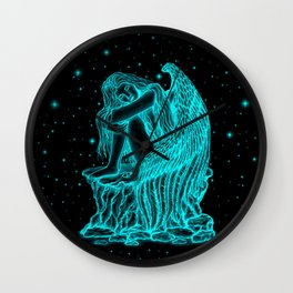 A sleeping Angel , black and green Design Wall Clock