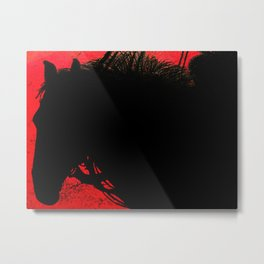 Steed: Cowboy on a Red Sunset Metal Print