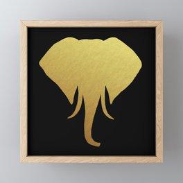 Golden Elephant Head Black Framed Mini Art Print