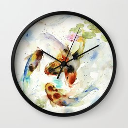 Watercolor Koi Pond Wall Clock