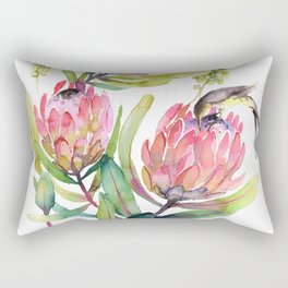 King Protea and Bird Watercolor Illustration Botanical Design Rectangular Pillow
