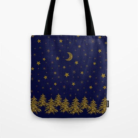 Sparkly Christmas tree, moon, stars Tote Bag