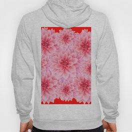 PINK DAHLIA FLOWERS IN RED COLOR ART Hoody