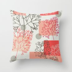 Branches grey graphic retro Throw Pillow