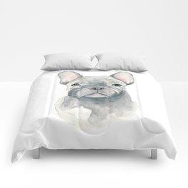 Gray Blue French Bulldog Comforters