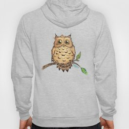 """""""Hoo, Me?"""" Baby Owl Watercolor & Ink Illustration by Amber Marine (Copyright 2019) Hoody"""