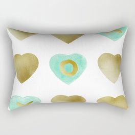 Tic Tac Toe hearts - Gold and Mint palette Rectangular Pillow