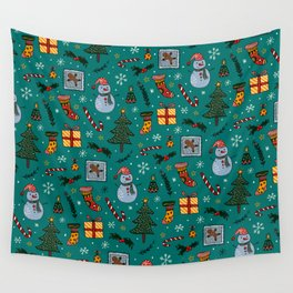 Christmas Holiday Teal Wall Tapestry