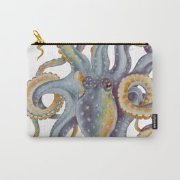Octopus Tentacles Steel Blue Watercolor Art Carry-All Pouch