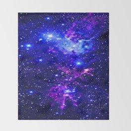 Fox Fur Nebula Galaxy blue purple Throw Blanket