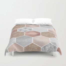 Gentle rose gold and marble hexagons Duvet Cover