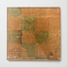 Map Of Atlanta 1850 Metal Print