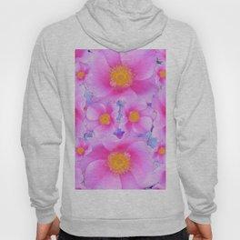 Dark Blue Fuchsia Pink Clustered Roses Hoody