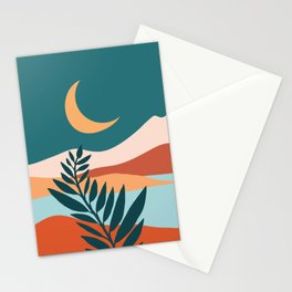 Moonlit Mediterranean / Abstract Landscape Stationery Cards