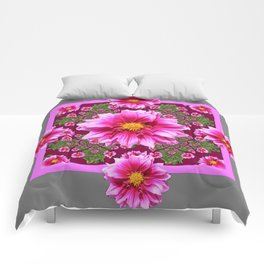 Abstracted  Fuchsia Dahlias Geometric Stylized Floral Grey Garden Comforters