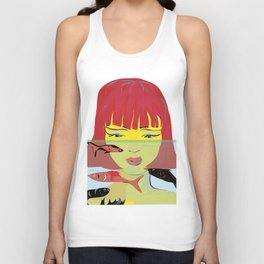 """Redhead Worry"" Paulette Lust's Original, Contemporary, Whimsical, Colorful Art Unisex Tank Top"