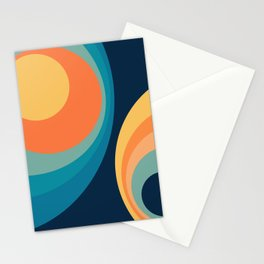 Colorful retro circles design 3 Stationery Cards