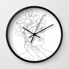 Minimal Line Art Woman with Magnolia Wall Clock