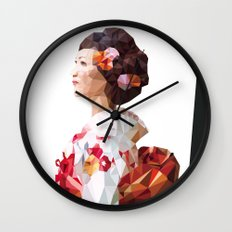 Polygonal Kimono girl 2 Wall Clock