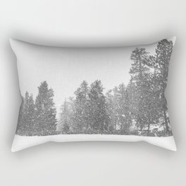 Snow Days // Snowy Tree Black and White Winter Landscape Photography Ski Snowboard Woods Wall Decor Rectangular Pillow