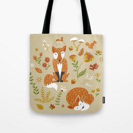 Foxes with Fall Foliage Tote Bag