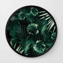 Tropical Jungle Leaves Night Siesta #1 #tropical #decor #art #society6 Wall Clock