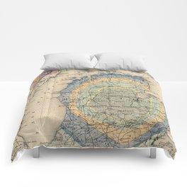 Vintage Michigan Geology Map (1873) Comforters