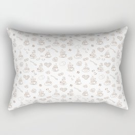 Tea time warm taupe on white Rectangular Pillow