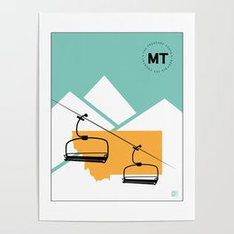 Skiing in Montana Poster