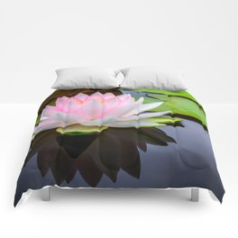 Pink Lotus & Green Lily Pads On A Jet Black Pond Comforters