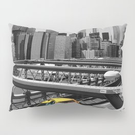 Yellow cab on Brooklyn Bridge, Manhattan, New York, USA. Pillow Sham