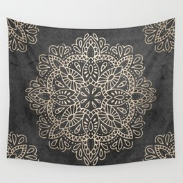 Mandala White Gold on Dark Gray Wall Tapestry