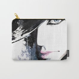 Fashion Beauty, Fashion Painting, Fashion IIlustration, Vogue Portrait, Black and White, #15 Carry-All Pouch