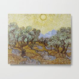 Vincent van Gogh - Olive Trees with Yellow Sky and Sun Metal Print