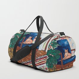 Ginger Cat on Blue Mid Century Chair Painting Duffle Bag