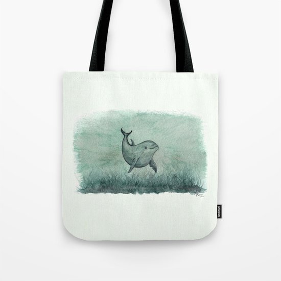 Notches, the Inshore Dolphin ~ Watercolor by Amber Marine Tote Bag