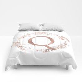 Letter Q Rose Gold Pink Initial Monogram Comforters