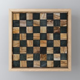Chequered Past, Carved Wood Chess Board Framed Mini Art Print
