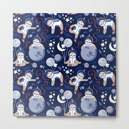 Best Space To Be // navy blue background indigo moons and cute astronauts sloths Metal Print