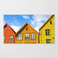 Norwegian houses. Scandinavia. Canvas Print