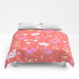 Living Coral Floral Pattern Comforters
