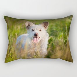 Single white stray tyke dog at the meadow Rectangular Pillow