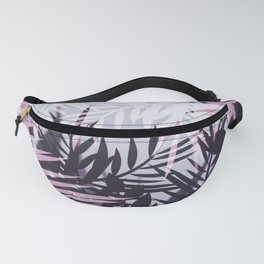 Pink gray tropical background Fanny Pack