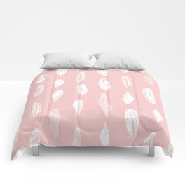 Feather pink and white minimal feathers pattern nursery gender neutral boho decor Comforters