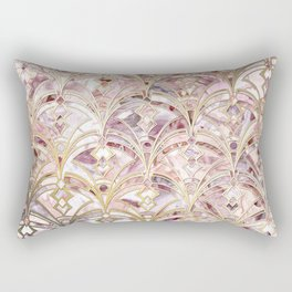 Dusty Rose and Coral Art Deco Marbling Pattern Rectangular Pillow