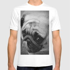 Pug Dog Mens Fitted Tee MEDIUM White